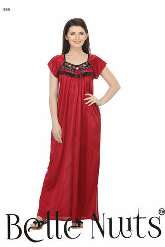 Bell Nuits Long Knee Cut Hand Embroidered Satin Nighty 8af0bf148