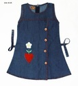 Cotton Denim Embroidered Frock