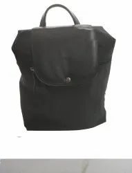 Black Nylon-Leather Backpack