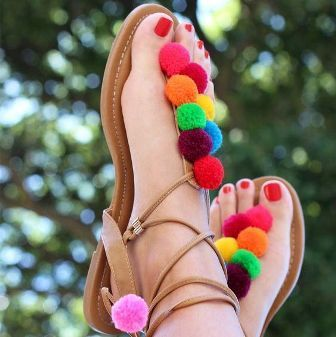 5a8c2aa8b4e1 Jodaas Canvas Classic Beautiful Flat Colorful Pompom Sandal