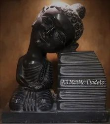 Black Marble Monk Buddha Abstract Sculpture