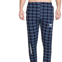 Men's Athleisure Stretchable Four Way Polyester Lycra Check Track Pant for Gym Wear and Casual Wear