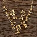 Leaf Golden Designer Gold Plated Classic Necklace 406301, Occasion: Festival, Party, Size: Regular Size And Adjustable