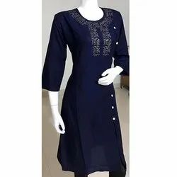 Rayon With Block Print Kurti