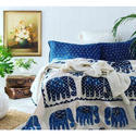 Elephant Design Block Printed Cotton Bed Cover