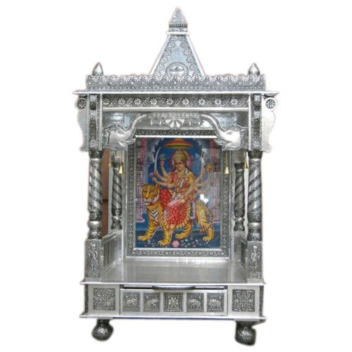 Silver Metal Handcrafted Oxidized Pooja Temple