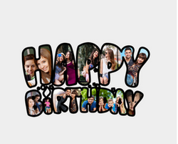 MDF Happy Birthday Collage Frame