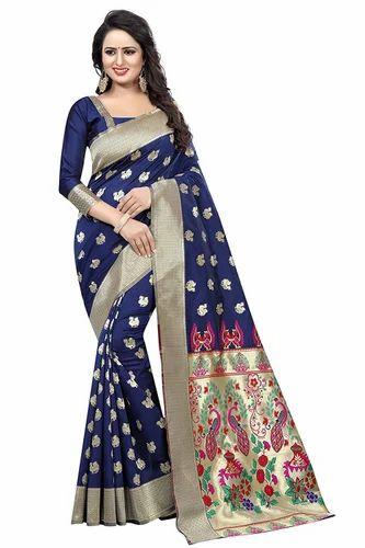 7e965f8541 Ladies Navy Blue Printed Kanjivaram Silk Saree, Rs 899 /piece | ID ...