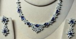 Bridal Wear Diamond Sapphire Necklace Set