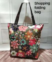 Folding Printed Nylon 14x17 Shopping Bag (Mix print)