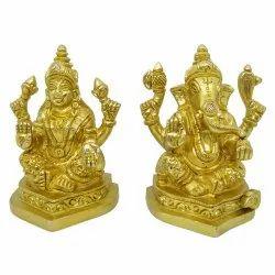 Brass Lakshmi Ganesh Idol sf, Size: 3 inch