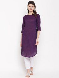 Women HC744 Purple Straight Khadi Yarn Dyed Kurti
