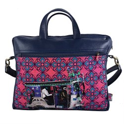 Blue Silver Taxi Canvas PU Laptop Bag