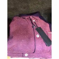 Cotton Collar Neck Purple Mens Fancy Shirt