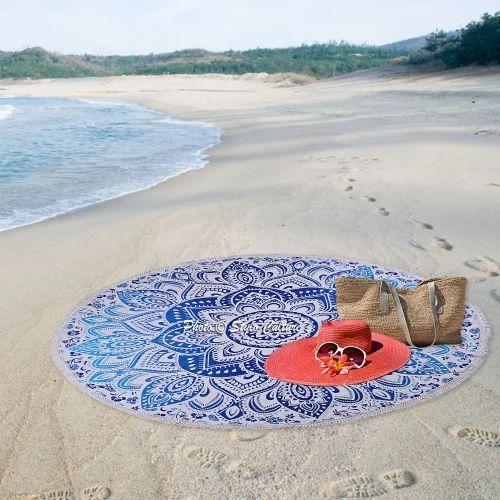 Blue & White Cotton Blue Round Mandala Tapestry Beach