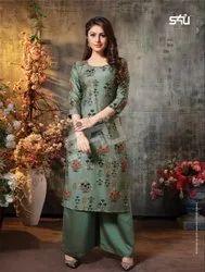 S4U Womaniya Vol 14 Exclusive Cotton Silk Long Top With Plazzo Set