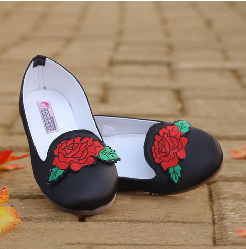 0b09a101d44c8f Synthetic Fabric Stylish Loafers For Girls With Rose Applique, Rs ...