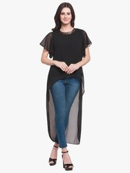 Women Round Neck Party Wear Martini High Low Black Georgette Top