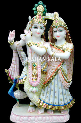 White Painted Beautiful Marble Radha Krishna Statue For