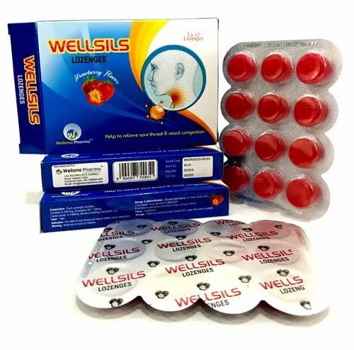 Wellsils Throat Lozenges for Personal, Packaging Size: 12x2