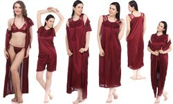 Ladies Six Piece Maroon Nighty