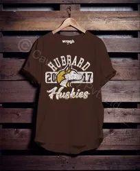 Men Cotton Printed Brown T Shirt