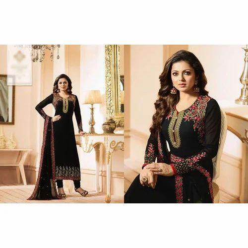 9d97bd997 Georgette Embroidered Ladies Fancy Salwar Suit Material