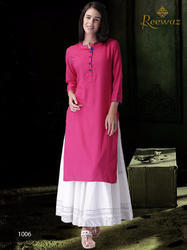 Georgette and Silk Printed Flair Kurti, Size: S, M and L