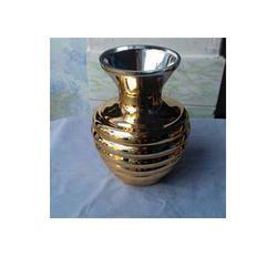 Golden Metallic Finish Glass Vase, Size: 10 inch