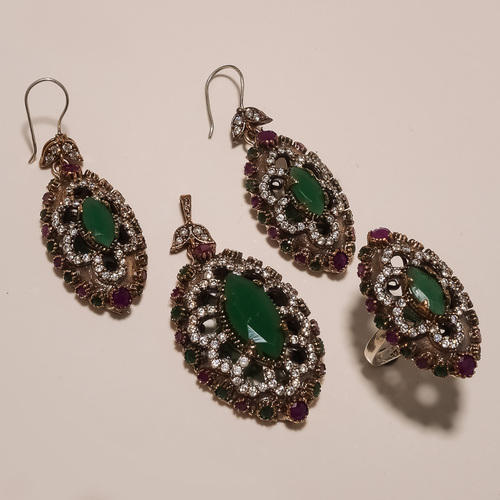 Green Copper Turkish Ring Pendants Set