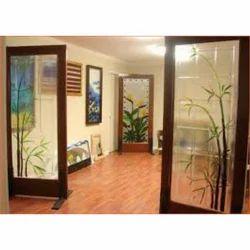 Designer Glass Door, Shape: Rectangle
