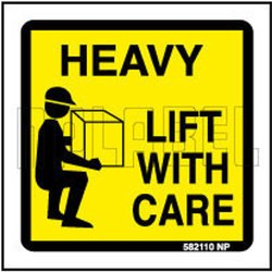 NP Label Square 582110 Heavy - Lift With Care Sticker
