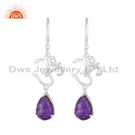 Purple Aventurine Gemstone Fine Silver OM Charm Earrings Jewelry