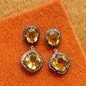 High Quality Citrine and Diamond Dangler Earrings