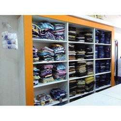 White And Yellow Garment Shop Wall Mounted Shelves