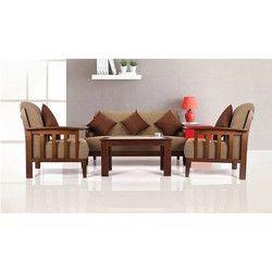 Golden Brown Wooden Sofa Set