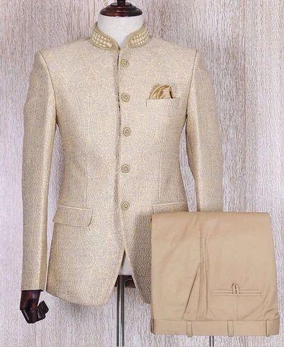 Cream Party Wear Wedding Men Jodhpuri Suit