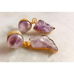 Rough Gemstone Gold Plated Brass Earrings