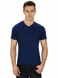 Pintapple Solid Mens V Neck Dark Blue T-Shirt