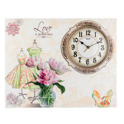 Flower Wall Clock Painting, Size: 40x51x06