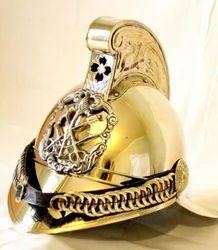 Authentic British Fireman Helmet Brass Antique Fire Brigade Rider Armor W/Liner.