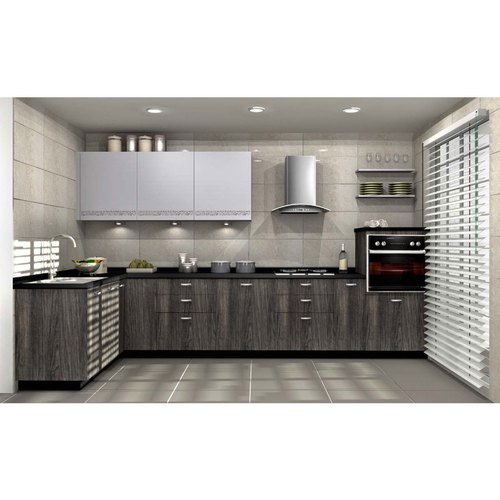 Sleek World L Shape Plywood L Shaped Modular Kitchen, Kitchen Cabinets