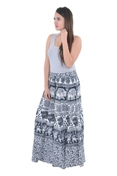 Indian White Floral Women Cotton Mandala Rapron Skirts