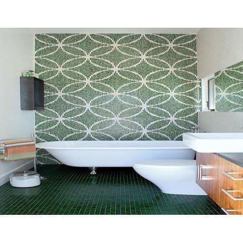 Olive Green Bathroom Waterproof Wallpaper, Size: 4x4 Feet