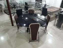 Glossy Finish Stainless Steel Round Dining Table Set for Home