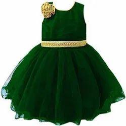 Girls Green Kids Designer Frock, 3 To 4 Years