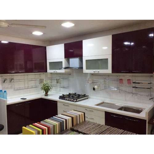 Designer Modular Kitchen At Rs 360 Square Feet: Maroon And White Designer Modular Kitchen, Rs 1200 /square