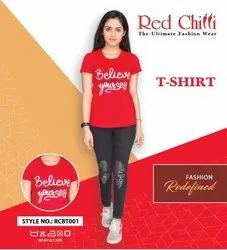 Round Red T-Shirt For Women