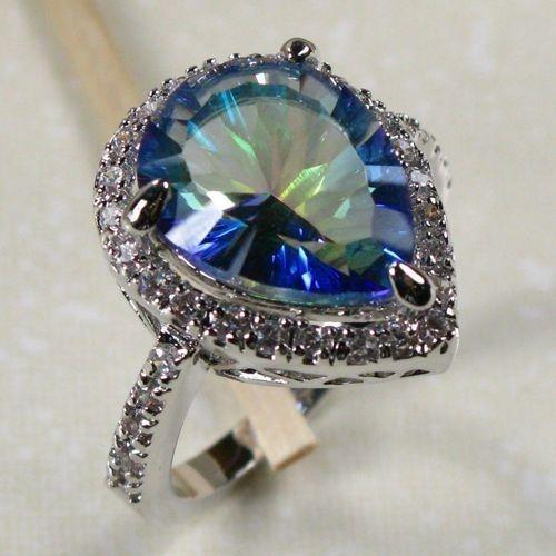 women band ijvl rings jewelry sterling stone mystic itm topaz indian wedding silver ring party amz