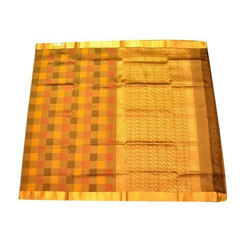 Brown Printed South Indian Cotton Silk Saree